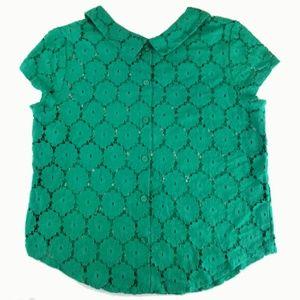 Lace Cap sleeve Peter Pan Collar Top